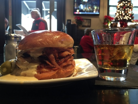 Yes, it is a sandwich on the left! and Bourbon on the right