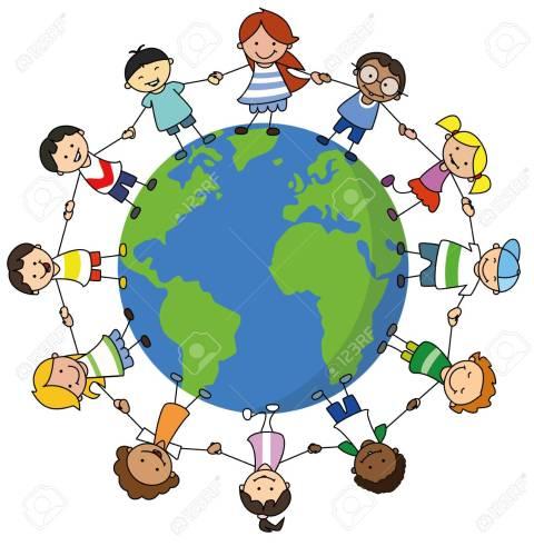happy kids holding hands on world illustration , children around